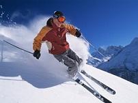 lyžař na sjezdovce